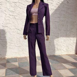 Vintage 90s plum pant suit set